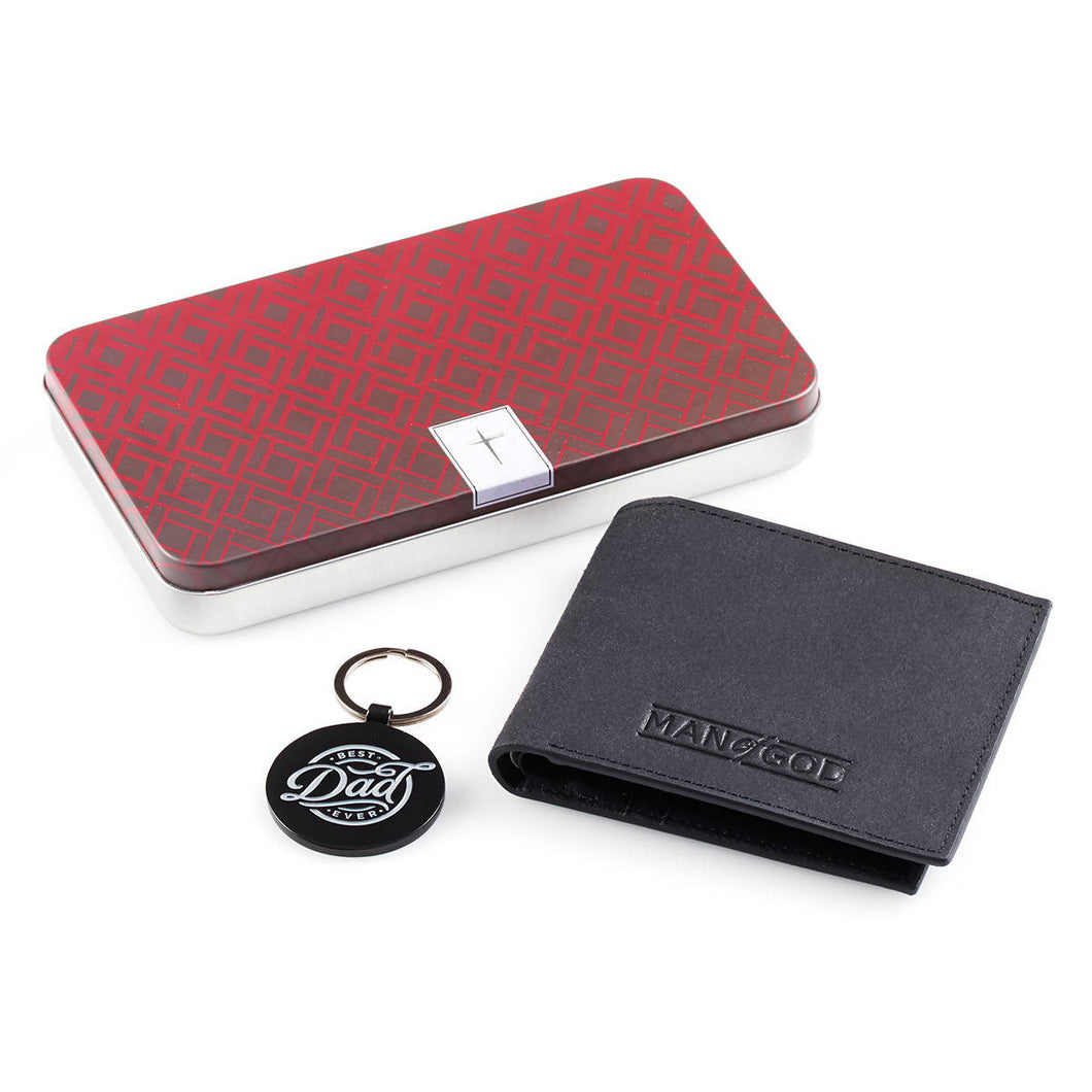 Best Dad Ever Leather Wallet and Keyring Set
