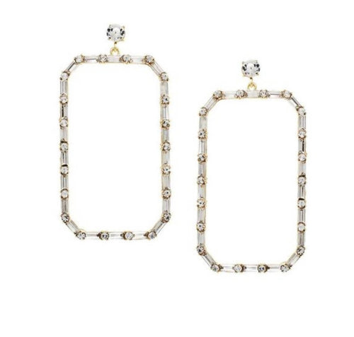 Glass Stone Oversized Rectangular Earrings
