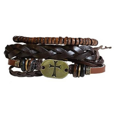 Gold Cross Leather Bracelet Set (3 bracelet set)
