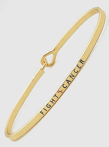Fight Cancer Engraved Breast Cancer Pink Ribbon Bangle Bracelets