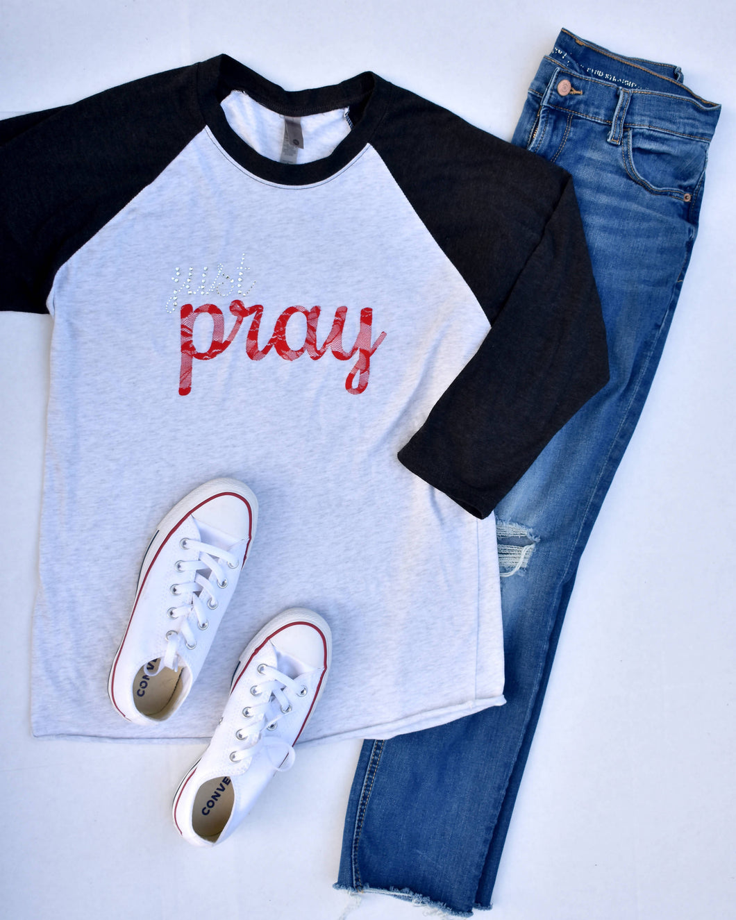 Just Pray Baseball Tee
