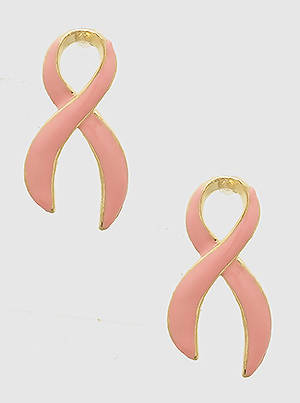 Pink Ribbon Breast Cancer Drop Earrings