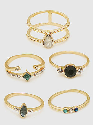 5pc Multi-Colored Rings