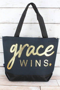 'GRACE WINS' NAVY TOTE BAG