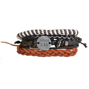 John 3:16 Leather Bracelet Set