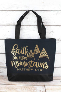 'FAITH CAN MOVE MOUNTAINS' NAVY TOTE BAG