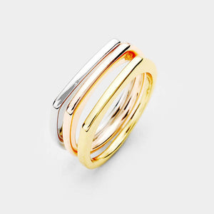 Simple Tri-Color Ring Set