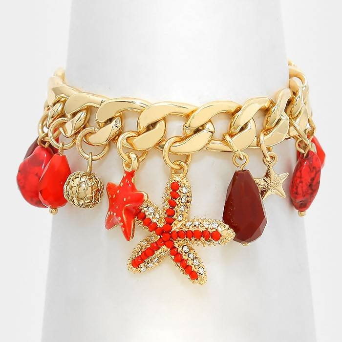 Starfish Beaded Charm Bracelet
