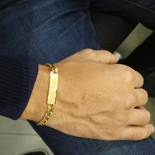 Men's Personalized ID Bracelet 18K Gold Plated Engraved Name plate