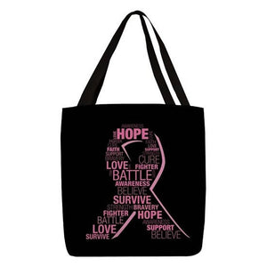 Breast Cancer Awareness Ribbon Polyester Tote Bag