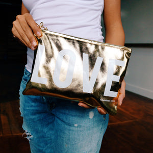"Metallic Gold "" Love "" Zip Pouch"
