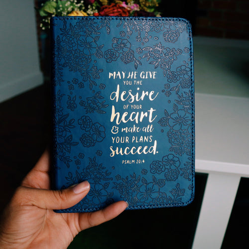 Psalm 20:4 Navy LuxLeather Journal