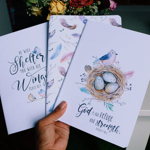 Set of 3 Inspirational Bird and Feather Notebooks