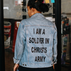 I AM A SOLIDER FOR CHRIST DENIM JACKET