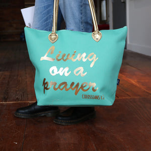 Metallic Gold 'Living on a Prayer' Mint Shoulder Tote