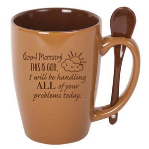 Good Morning This Is God, Spoon Mug, Brown