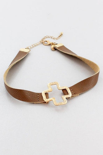 Brown Faux Leather and Worn Goldtone Square Cross Choker