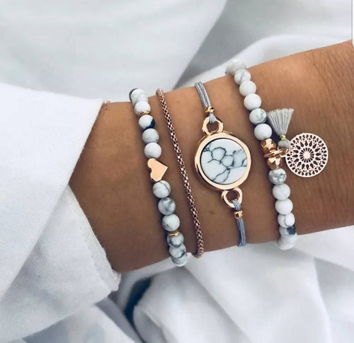 4 PC Boho style beaded bracelet set