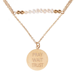PRAY-WAIT-TRUST Pearl And Disc Necklace