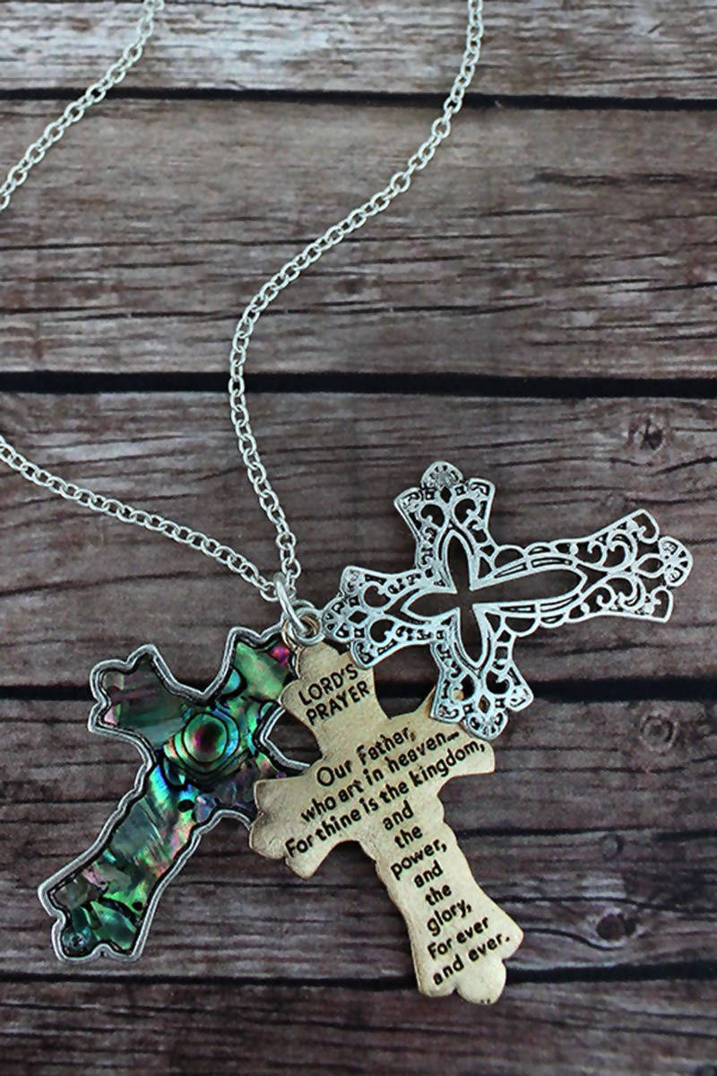 TWO-TONE AND ABALONE LORD'S PRAYER TRIPLE CROSS NECKLACE