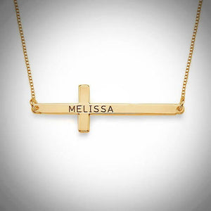 PERSONALIZED HORIZONTAL CROSS NECKLACE - GOLD PLATED