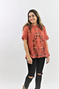 """The Ayden Embroidered Top In Rust"""