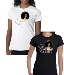 Black Embrace Ya Curlz Fitted T-shirt