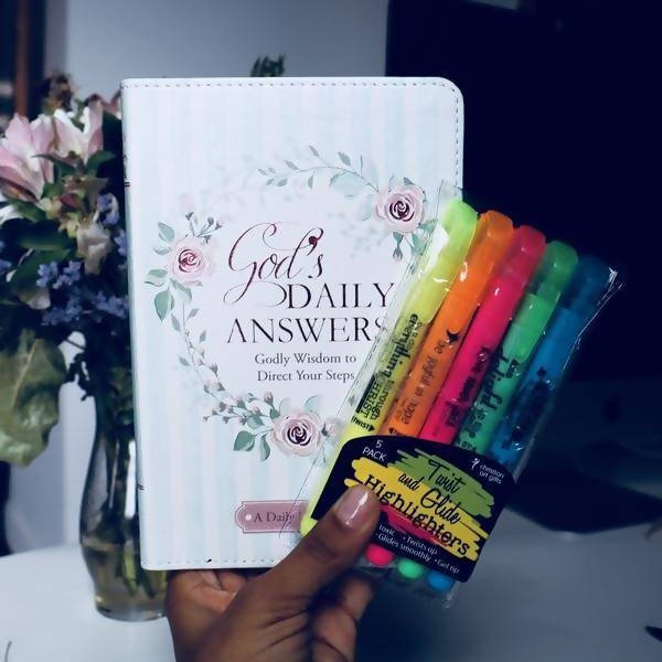 God's Daily Answers Devotional w/ Inspirational Twist and Glide Highlighters