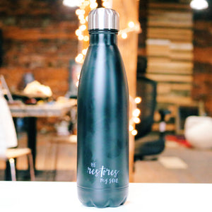 HE RESTORES WATER BOTTLE (BLACK STAINLESS STEEL)