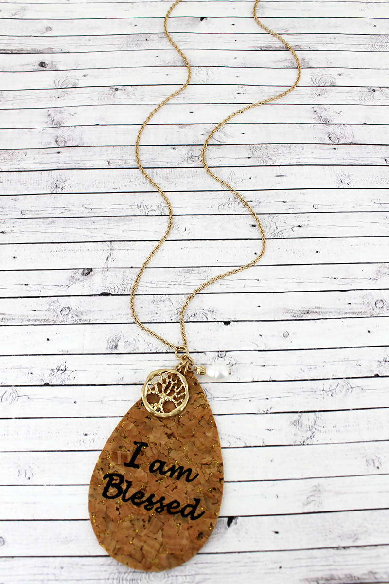 CORK 'I AM BLESSED' TEARDROP CHARM PENDANT NECKLACE