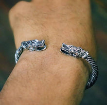 DOUBLE DRAGON HEAD BANGLE BRACELET