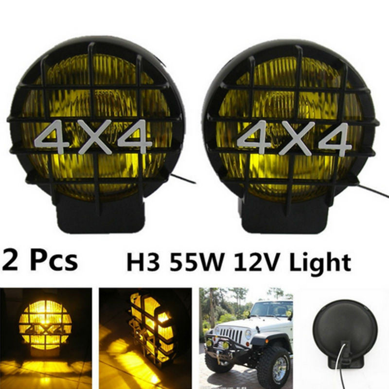 2Pcs 55W Offroad Fog Light Lamp Halogen H3 Bulb 4x4 Spotlights