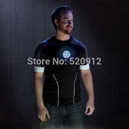 Sound Activated LED T-shirt Men The Avengers tshirts Iron Man Tony