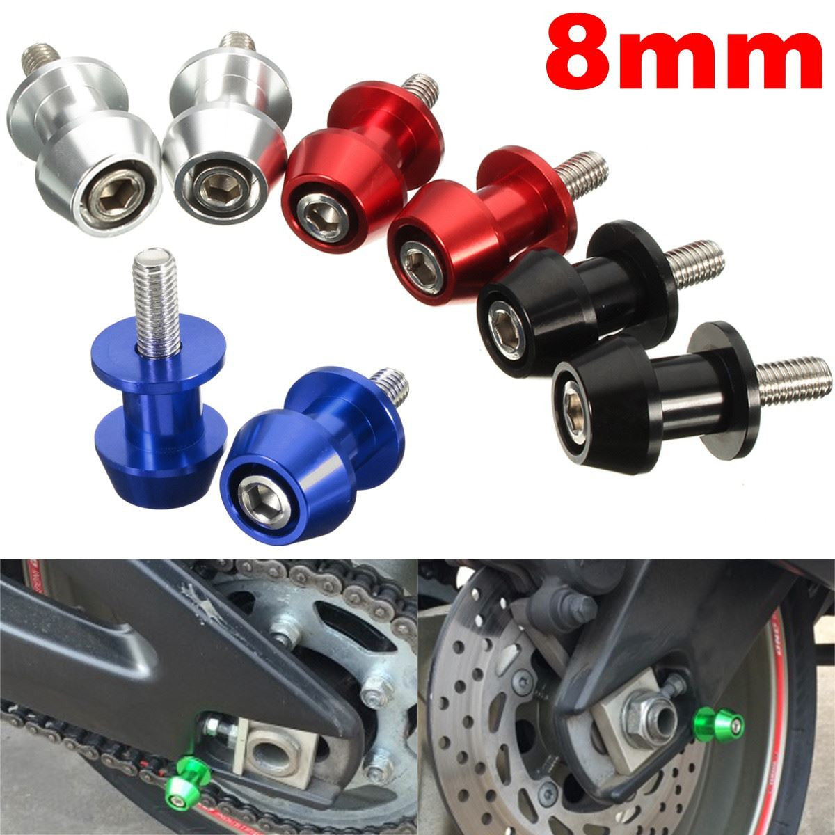 2 Pieces Universal 8mm Aluminum Swingarm Spools Sliders for Honda