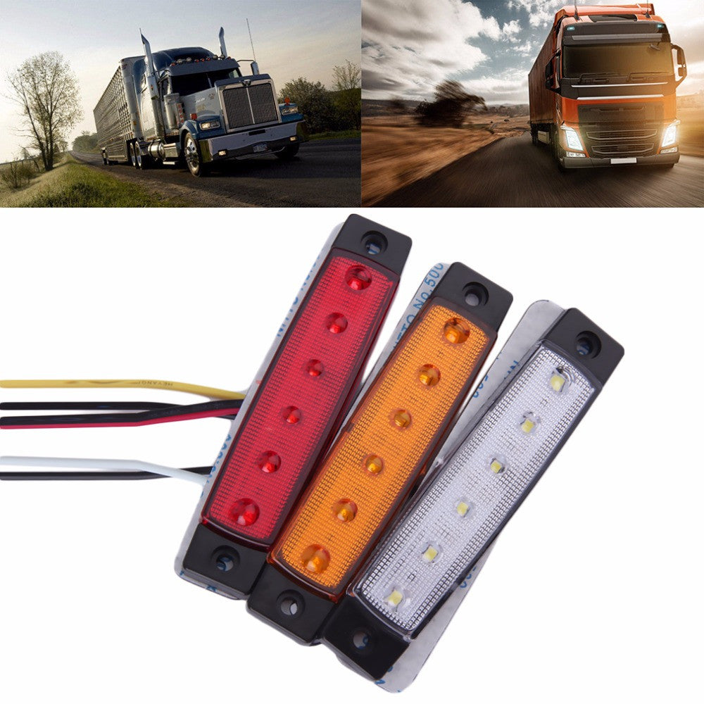 2016 New 1pc 28cm 5colors 12-24V 6 LED Car Bus Truck Trailer Lorry