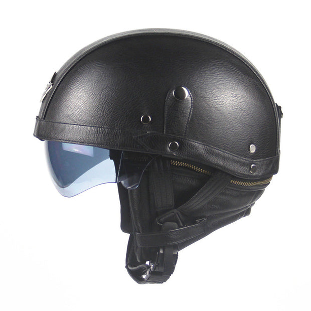 Motorcycle Motorbike Rider Half  PU Leather Retro Harley Helmet