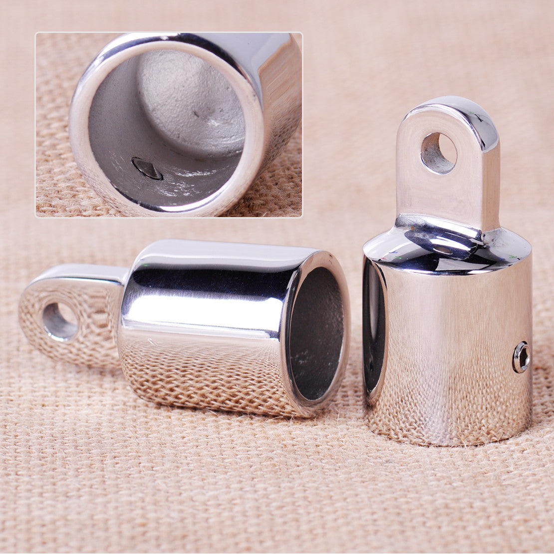 2PCS Stainless Steel 7/8'' Pipe Eye End Cap Bimini Top Fitting