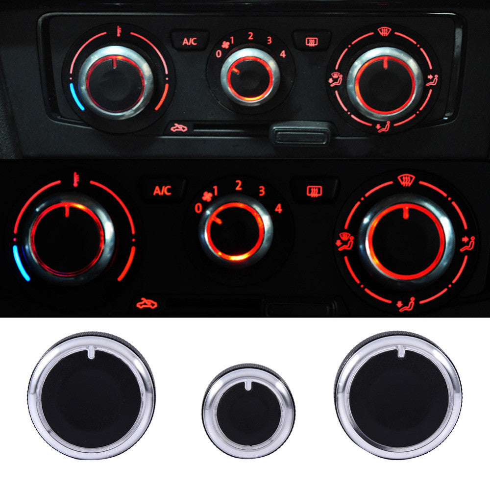 3PCS/Set Heater Dash A/C Switch Knobs Black Control Buttons For VW For