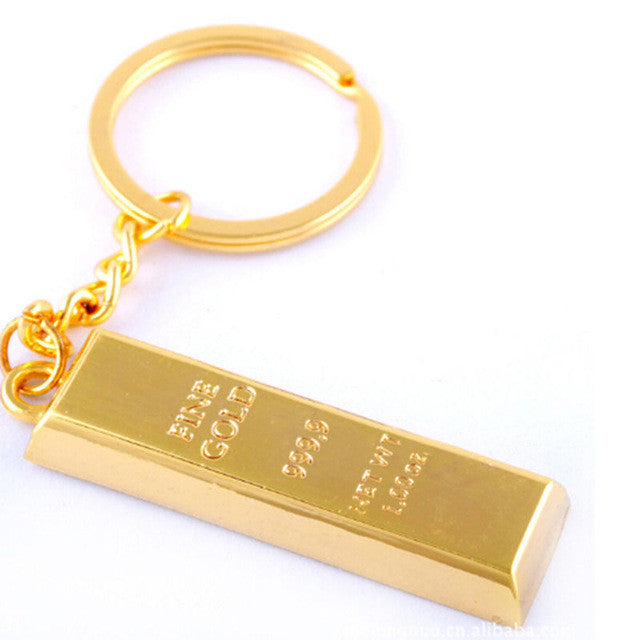 2017 Creative Metal Faux Gold Bar Bullion Keychain Car Keyring Free