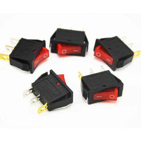 Universal 5pcs On/Off Red Rocker Switch Car Dash Boat Toggle Switch 3 feet 2 files rocker switch 16A 250V 20A 125V