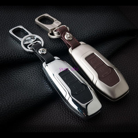 High-grade Zinc alloy + Leather Car Key Case For Ford Smart Folding Key Mondeo Focus Fiesta Ecosport Kuga Key Chain Car Covers
