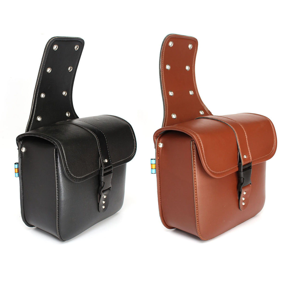 2 Pieces Universal Motorcycle PU Leather Saddlebags Storage Tool For