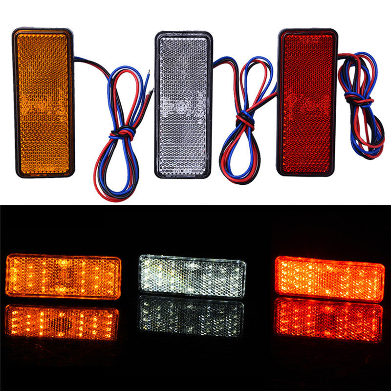 24LED Motorcycle Reflector Tail Brake Turn Signal Light Lamp Rectangle