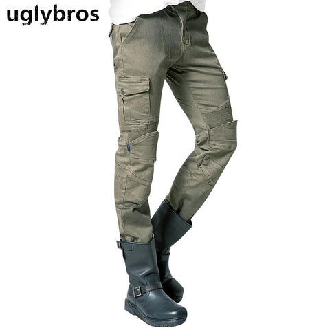 Army green uglybros MOTORPOOL UBS06 jeans men's motorcycle jeans pants protection equipment moto pants racing pants