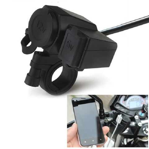 WUPP-01 12V - 24V Waterproof Motorcycle USB Charger Power Supply Socket Universal Waterproof and Dust-proof Rubber Cap with Fuse