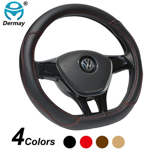 DERMAY D Shape Microfiber Leather Car Steering Wheel Cover Four