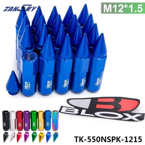 TANSKY - 20PC Blox M12X1.5 High Quality Aluminum Extended Tuner Wheels Rims Lug Nuts With Spike TK-550NSPK-1215