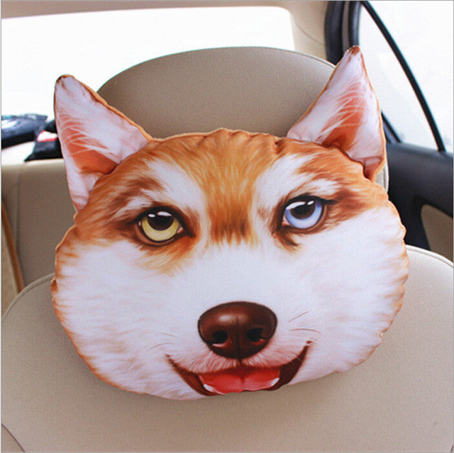 30*25cm Creative 3D Animal Cat Dog Emoji Car Seat Neck Rest Cushion