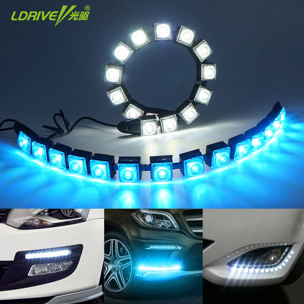 Car COB LED DRL Driving Fog Light Flexible Daytime Running Light