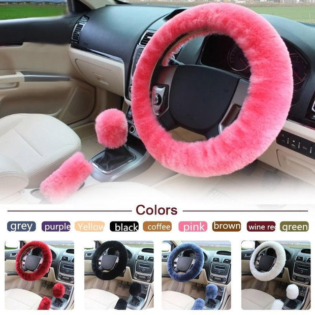 3pcs/1set Wool Plush Warm Steering-Wheel Cover Car Fur Car Steering